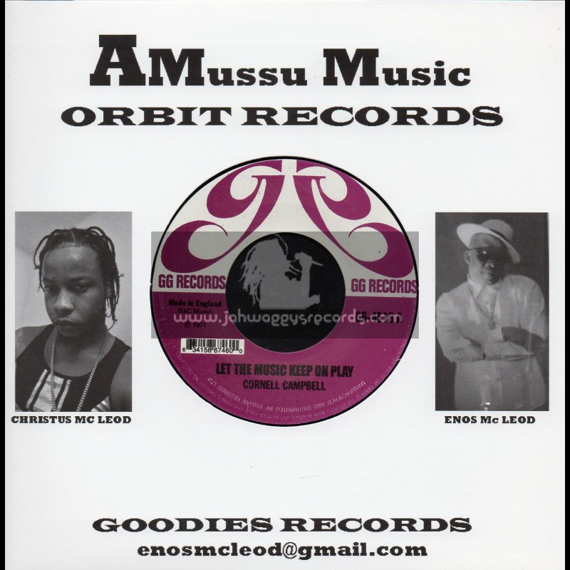 """GG Records-Amussu Music-7""""-Let The Music Keep On Play / Cornell Campbell"""