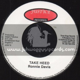 "Justice Records-7""-Take Heed / Ronnie Davis + Forget Me Now / Ronnie Davis"