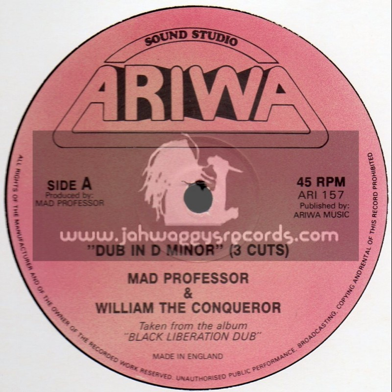 """Ariwa-12""""-Dub In D Minor (3 Cuts) Mad Professor & William The Conqueror"""
