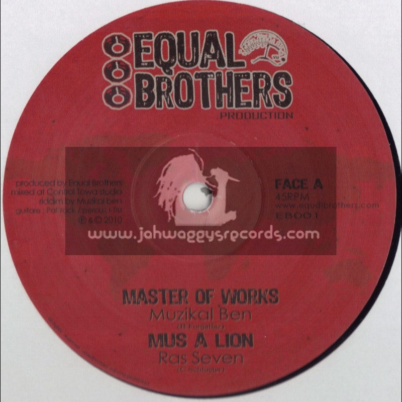 """EQUAL BROTHERS-10""""-MASTER OF WORKS/MUZICAL BEN+MUS A LION/RAS SEVEN"""