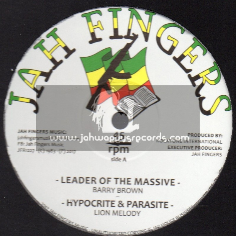 """Jah Fingers Records-12""""-Leader Of The Massive / Barry Brown + Hypocrite And Parasite / Lion Melody"""