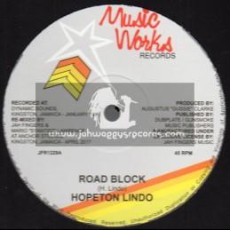 "Music Works Records-Jah Fingers-12""-Road Block / Hopeton Lindo"