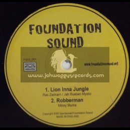 "FOUNDATION SOUND-10""-LION INNA JUNGLE/RAS ZACHARRI/JAH RUEBEN MYSTIC + ROBBERMAN /MIKEY MURKA + MEDICATION / DARK ANGEL"